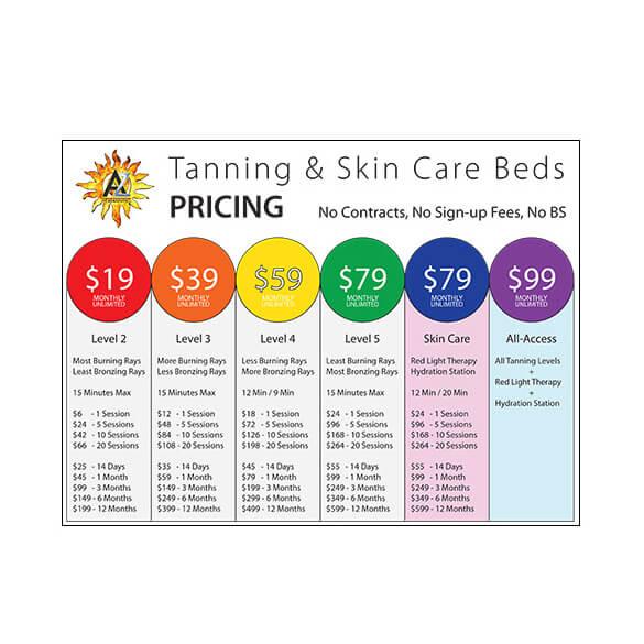 AZ Heat Tanning – Pricing Sheet